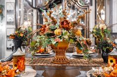 Set Your Fall Table - Linly Designs Fall Dining Table, Autumn Table, Fall Home Decor, Autumn Home, Thanksgiving Crafts, Thanksgiving Cornucopia, Fall Table Settings, Silk Floral Arrangements, Creative Decor