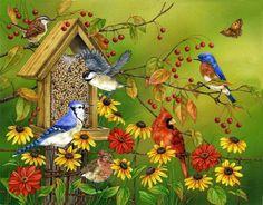 Artiste Animalière Illustratrice - Jane Maday - Affluence devant la mangeoire à graines I