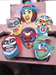 Vintage Halloween masks Retro Halloween, Halloween Masks, Happy Halloween, Boxing Halloween Costume, Scary, Creepy, Plastic Mask, Monster Mask, Vintage Costumes