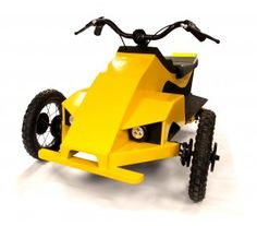 Cordless drill powered trike suitable for 4 to 10 year olds. Easy to build with no special tools or skills. Uses parts from a child's outgrown or unused bike and standard plywood. Build for less than $100.