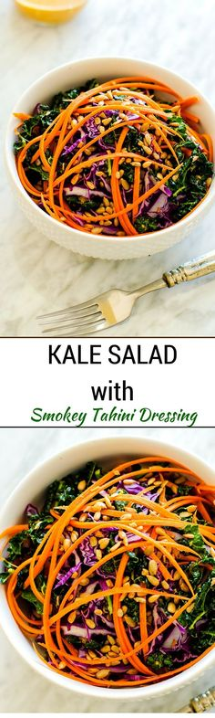 Kale Salad with Smokey Tahini Dressing - This easy vegan salad is packed with flavor and texture. The Smokey Tahini Dressing is sure to become a favorite! - http://WendyPolisi.com