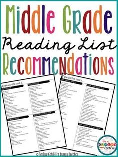 Book Recommendation for Middle Grades by Category: Reading Lists