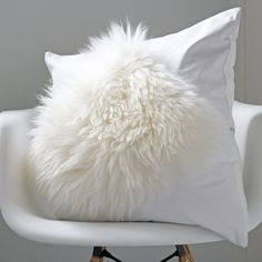 White sheepskin and leather cushion by Murphy McCall at Etsy  www.murphymccall.etsy.