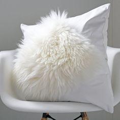 White cushion - white leather cushion, sheepskin cushion, Scandinavian  cushion, white home decor, hygge home decor, luxury decor, bedroom