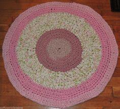 "Hand Made Crochet Rag Rug ~NEW 30"" Petal Pink Shabby Country Prim GORGEOUS"