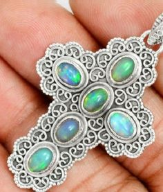 Pendant WOWSER!NATURAL ETHIOPIAN OPAL 925 STERLING CROSS CHRISTIAN SILVER 1.8in  #Pendant