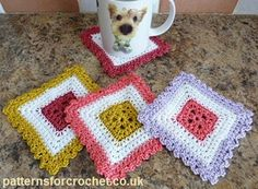 Free crochet pattern colorful coaster usa