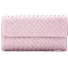 Bottega Veneta Intrecciato Leather Wallet ($870) ❤ liked on Polyvore featuring bags, wallets, pink, wallets & cases, pink bag, pink wallet, leather wallets, real leather wallets and bottega veneta bags