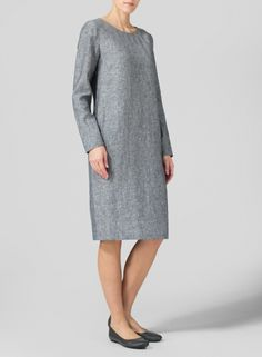 PLUS Clothing - Linen Long Sleeve Mid-Length Dress