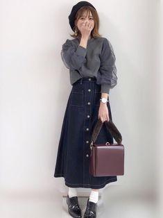 GUさんの デニムフロントボタンマキシスカートが可愛すぎるっ♡ 私はSを着用しています☺︎ 他のボト