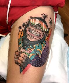 80s Party Chimp by @theleisurebandit at The Leisure Bandit Tattoo in Perth Western Australia. #80s #party #chimp #monkey #80sparty #theleisurebandit #theleisurebandittattoo #perth #westernaustralia #australia #tattoo #tattoos #tattoosnob