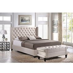 Cool Norwich Linen Modern Platform Bed With Bench