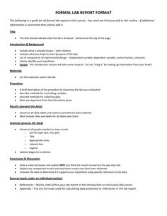 Lab Report Outline  Science Lab Report Template  School Ideas