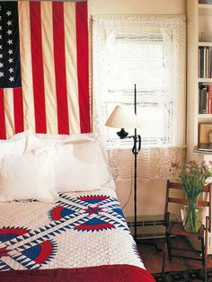 This vintage Americana bedroom is perfect