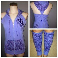 Zumba Fitness Instructor Jacket In Blue Customized W/ Bonus Leg Warmers **RARE**