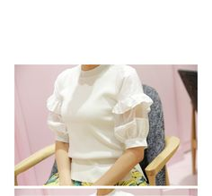 Frilled-Sleeve Knit Top