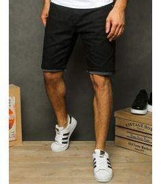 Čierne pánske džínsové kraťasy Black Denim Shorts, Men's Denim, Spandex, Cotton, Composition, Touch, Zipper, Pockets, Products