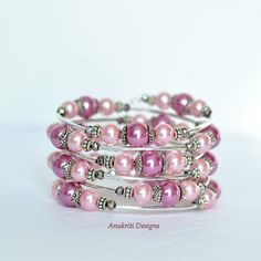 Pink pearl beaded memory wire bracelet Boho by AnukritiDesigns