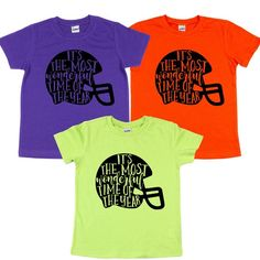 Football Most Wonderful Time of Year Football Season | Etsy School Football, Football Shirts, Making Shirts, Girls Tees, Football Season, Fall Wardrobe, Wonderful Time, Kid, Trending Outfits
