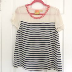 Anthropologie Maeve Stripe Jeweled Top Navy striped. Slightly sheer. Coral collar with jewels. Worn once. Freshly dry cleaned  One missing jewel - not noticeable at all. See last photo. Brand is Maeve. Anthropologie Tops