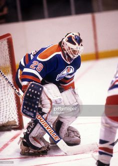 goalie-daryl-reaugh-of-the-edmonton-oilers-defends-the-net-during-an-picture-id142243611 (727×1024) Hockey Goalie Gear, Ice Hockey, Goalie Mask, Edmonton Oilers, Nhl, Masks, Sports, Hs Sports, Sport