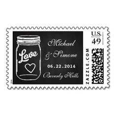 Mason Jar Chalkboard Wedding Save The Date Postage. Make your own business card with this great design. All you need is to add your info to this template. Click the image to try it out!