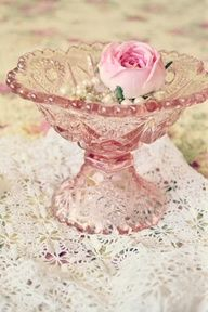 Pink glass bowl with rose