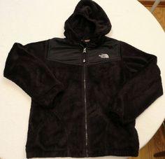 North Face Girls sz L Fuzzy Fleece Hoodie Full Zip Hood Black Osito Jacket EUC #TheNorthFace #FleeceJacket