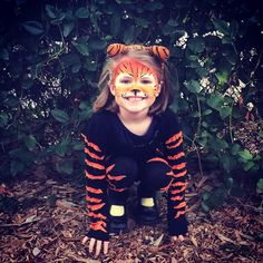 Kids Tiger costume u0026 face paint DIY  sc 1 st  Pinterest & Quick tiger costume... Felt pieces adhered to shirt u0026 purchased mask ...