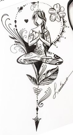 Excellent simple ideas for your inspiration Yoga Tattoos, Body Art Tattoos, Tattoo Drawings, New Tattoos, Sleeve Tattoos, New Age Tattoo, Tatoo Dog, Tattoo Bauch, Brust Tattoo