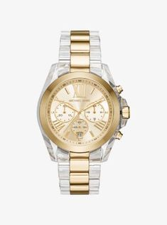 A match made in style heaven—we designed this oversize version of the Bradshaw watch in our glamorous gold-tone stainless steel and high-shine clear acetate for a chic mix. Chronograph detailing lends function, while the Roman numeral time-stops exude classic appeal.