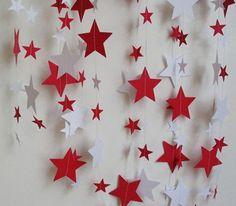 rideau etoiles rouge et blanche avec fil de nylon