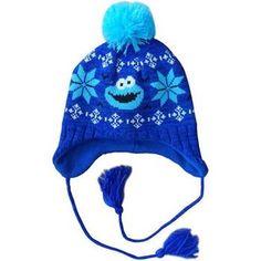 e112d0e9860 Sesame Street Cookie Monster Snow Flake Laplander Hat