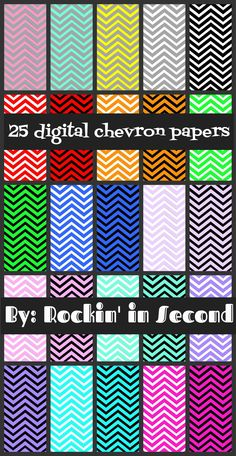 Rockin Chevron Digital Paper  25 different Chevron Digital Papers included. All come in both formats: jpeg and png You can create amazing things with these papers.  Follow me on TPT for new and exciting products and FREEBIES!!