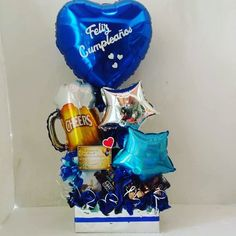 Balloon Basket, Balloon Box, Balloon Bouquet, Best Dad Gifts, Gifts For Dad, Diy Birthday, Birthday Gifts, Personalised Gifts Diy, Surprise Box