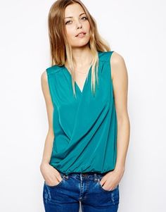 Image 1 of ASOS Sleeveless Top with Drape Front