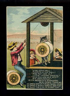 Pussy Cat Rescued from Well Victorian Nursery Rhyme Trade Card Merrick Thread