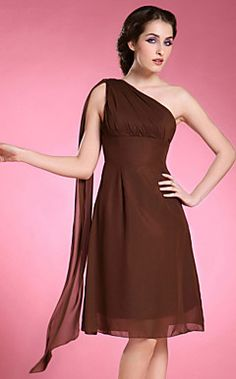 A-line One Shoulder Sleeveless Knee-length Chiffon Mother of... – USD $ 69.99