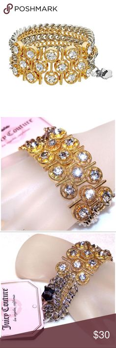 """JUICY COUTURE RHINESTONE MULTI-STRAND BRACELET This trendy sophisticated Juicy Couture bracelet will be a stunning addition to your wardrobe. This bracelet is gold tone with rhinestones, and silver & gold tone multi-strands.  It measures approximately 7 1/4"""", and has some stretch to it. Juicy Couture Jewelry Bracelets"""