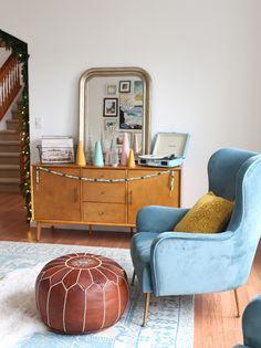 TOV Ethan Sea Blue Armchair - love this blue velvet armchair with modern press legs