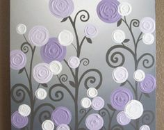 Grey and Purple Modern Nursery Art Impasto by MurrayDesignShop