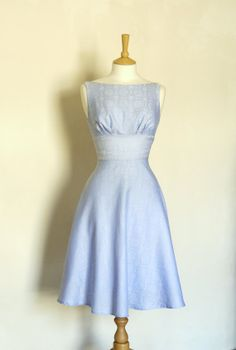 6fc3c68232ef11 Pale Blue and Ivory Damask Tea Dress - Made to Measure 50 Style Dresses