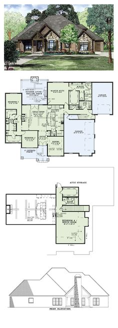 Beautiful craftsman ranch house plan 9215 features 2 910 for How big is a two car garage square feet