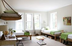 Easy, simple twin platform beds with a simple color palette. Green, white, natural wood.