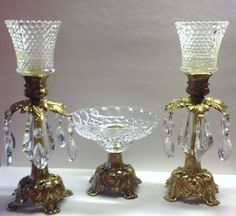 Vintage 1973 Pr Brass Glass Candle Holders W Crystals & Candy Dish ...