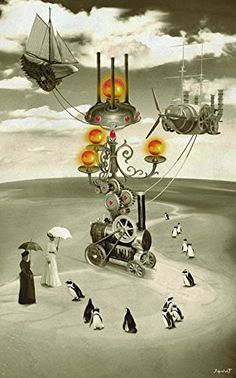 "Zeppelin's Mobile Airport (15x10 in.). Zeppelin's Mobile Airport by José Galant is one of his classic Steampunk Science Fiction pieces showing a monochrome background with highlights of color in the technology. This particular piece is accented with red and gold hues. The figures in this image are reminiscent of those in the famous painting, ""A Sunday Afternoon on the Island of La Grande Jatte"". Scattered penguins add interest to the desolate landscape."