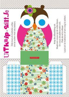 #traktatie bakje uil meisje. gratis download. free printable #verjaardag #birthday