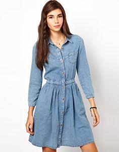 Vintage Long Sleeve Jean Mini Dress Sinched @    the Waist