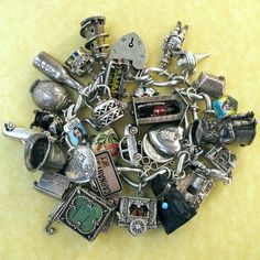 Vintage Quintessentially English Silver Charm Bracelet 34 Charms Lampl Nuvo #NuvoandWalterLampl #Vintage