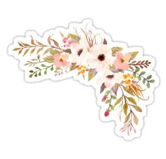'Pastel Watercolor Bouquet Peach' Sticker by junkydotcom Homemade Stickers, Diy Stickers, Printable Stickers, Journal Stickers, Scrapbook Stickers, Planner Stickers, Motif Simple, Cute Laptop Stickers, Red Bubble Stickers